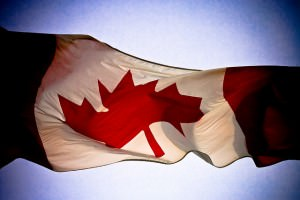 Canadian flag blowing in the wind