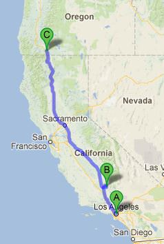 Kody Kinzie's driving route. He was driving from Los Angeles (A) to Ashland, Ore. (C). Kinzie got pulled over along the way and spent the night in a Kern County jail (B). Source: Google