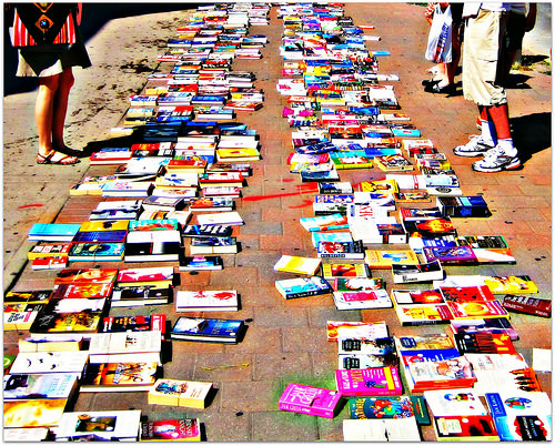 Book sale on city streets